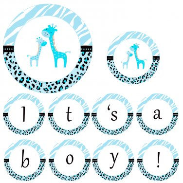 Hand Made Personalized Blue Giraffe Banner - Baby Shower Birthday Customizable For Any Occassion