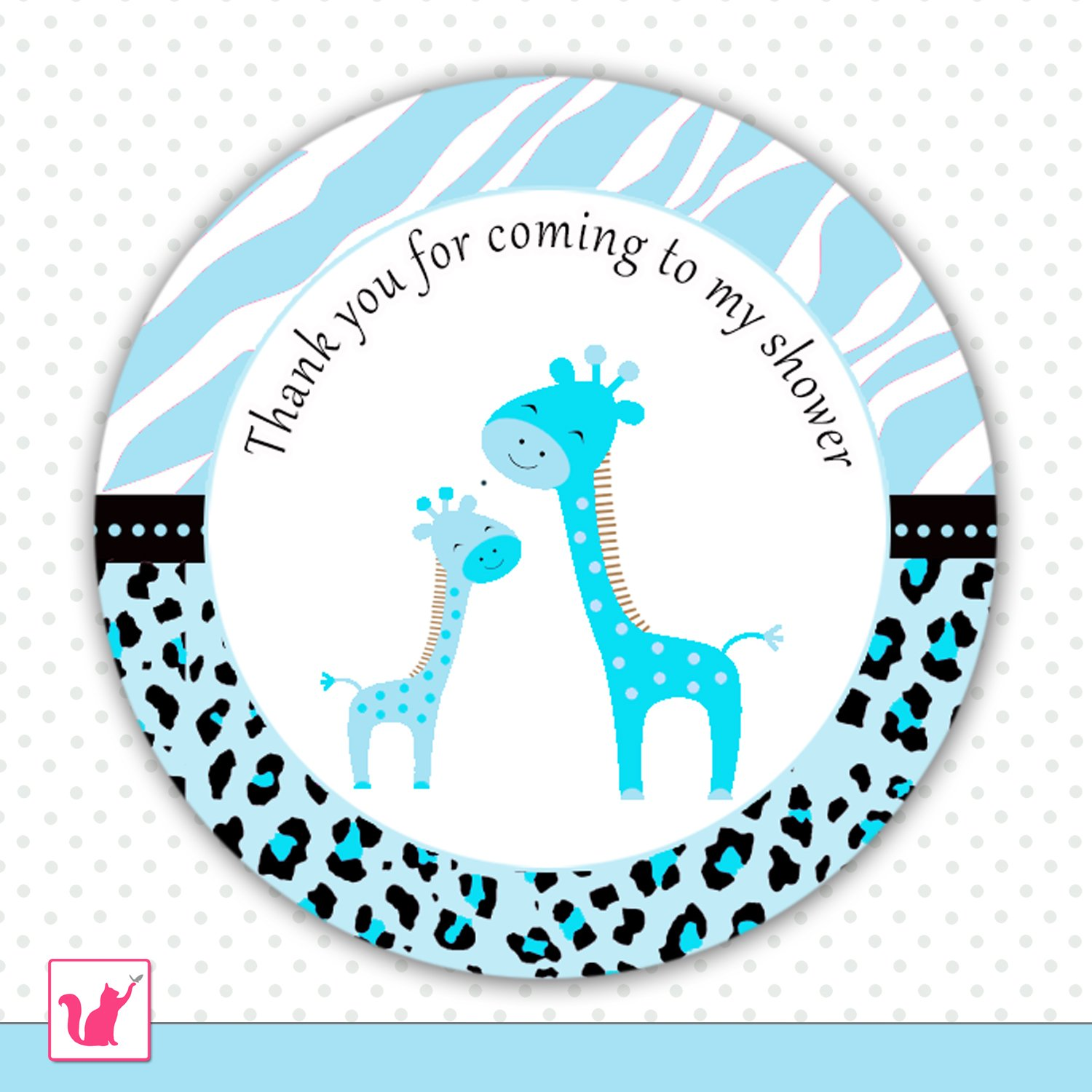 Printable Cute Blue Giraffe Thank You Tags Baby Shower Party