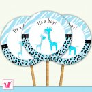 Printable Cute Blue Giraffe Cupcake Topper - Baby Shower Party