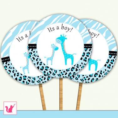 Printable Cute Blue Giraffe Cupcake Topper - Baby Shower Party