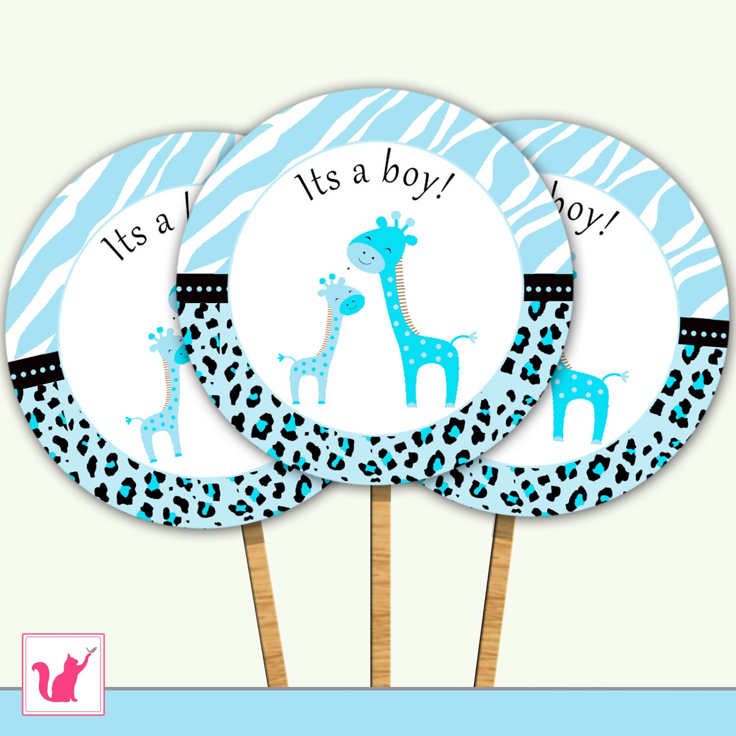 20 Personalized Cute Blue Giraffe Cupcake Topper - Baby Shower Party