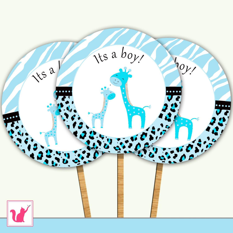 20 Personalized Cute Blue Giraffe Cupcake Topper - Baby ...