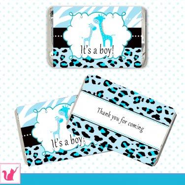 Printable Cute Blue Zebra Leopard Design Giraffe Mini Candy Wrapper - Baby Shower