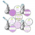 216 Hershey Kiss stickers - Personalized Polka Dots Baby Feet Girl Baby Shower Labels
