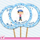 Printable Personalized Cute Pirate Cupcake Topper - Birthday Party Boy