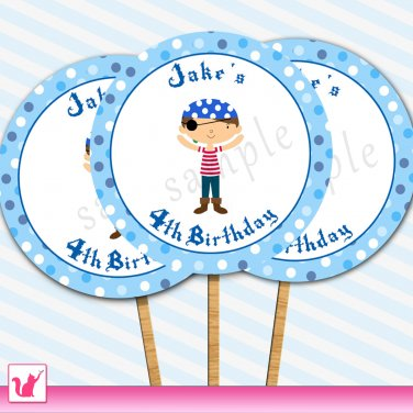 20 Personalized Cute Pirate Cupcake Topper - Birthday Party Boy