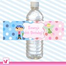25 Personalized Pirate Fairy Water Bottle Label Wrappers - Boy Girl Birthday Party