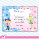 Printable Pirate Fairy Pixie Princess Birthday Party Thank You Cards Note Baby