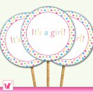 20 Personalized Sweetshop Candyland Cupcake Topper - Baby Shower Party