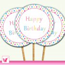 20 Personalized Sweetshop Candyland Cupcake Topper - Birthday Party