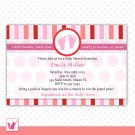 30 Personalized Cute Pink Red Stripes Baby Feet - Baby Shower Invitations