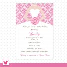 Printable Personalized Hot Pink Damask Bride Bridal Shower Invitations