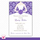 Printable Personalized Purple Damask Bride Bridal Shower Invitations