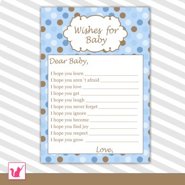30 Blue Brown Polka Dots Wishes for Baby Card - Baby Shower Custom