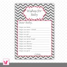 30 Chevron Grey Red Framed Wishes for Baby Card - Baby Shower Custom