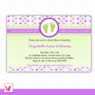 Printable Personalized Cute Purple Green Polka Dots Baby Feet - Baby Shower Invitations