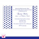 30 Personalized Navy Blue Polka Dots Bridal Shower Invitations - Weddings Anniversary