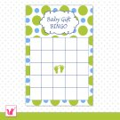 Printable Baby Shower Party Gift Bingo Card - Blue Green Polka Dots Baby Feet