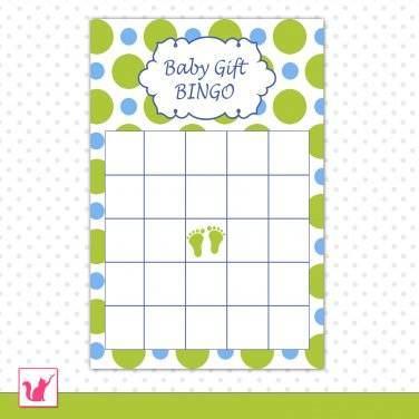 Printable Baby Shower Party Gift Bingo Card - Blue Green Polka Dots Baby Feet