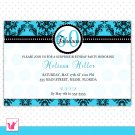 Printable Personalized Damask Turquoise Teal Birthday Anniversary Party Invitation