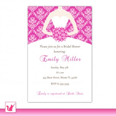 30 Personalized Fuchsia Hot Pink Damask Bride Bridal Shower Invitations