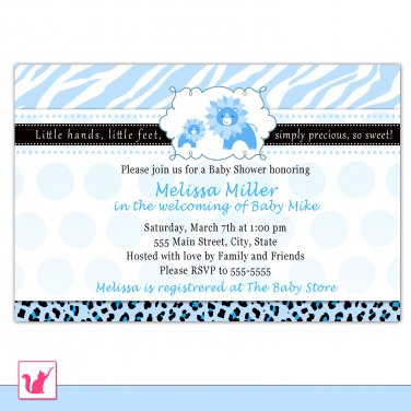 Printable Personalized Cute Blue Lion Baby Shower Invitations