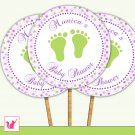 20 Personalized Polka Dots Lime Green Purple Baby Feet Cupcake Topper - Baby Shower Party
