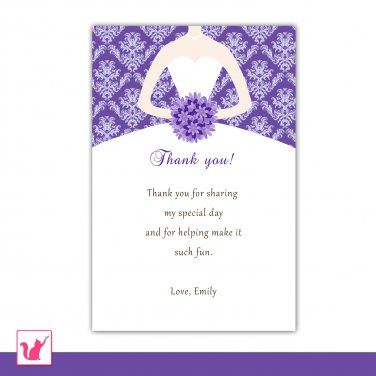 30 personalized purple damask bridal shower thank you cards