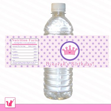 25 Personalized Pink Purple Princess Star Water Bottle Label Wrappers - Birthday Party