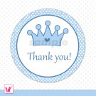 40 Personalized Cute Blue Prince White Polka Dots Thank You Tags - Birthday Party