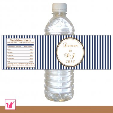 25 personalized navy blue stripes gold bridal shower water bottle labels wrappers