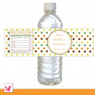 Printable Personalized Unisex Polka Dots Water Bottle Label Wrappers - Baby Shower Party