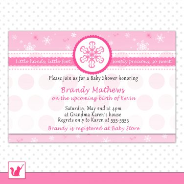 30 invitations baby girl shower pink snowflakes winter wonderland personalized