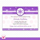 Printable Personalized Purple Winter Wonderland Birthday Invitations - Baby Shower Any Occassion