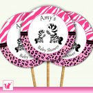 20 Personalized Cute Zebra Baby Shower Cupcake Topper - Pink Jungle Leopard Design