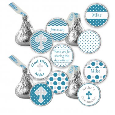Hershey Kiss stickers - Printable Personalized Teal Grey Chevron Polka Dots Communion Labels