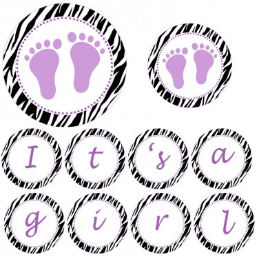 Hand Made Personalized Purple Baby Feet Jungle Banner - Baby Shower Birthday Customizable