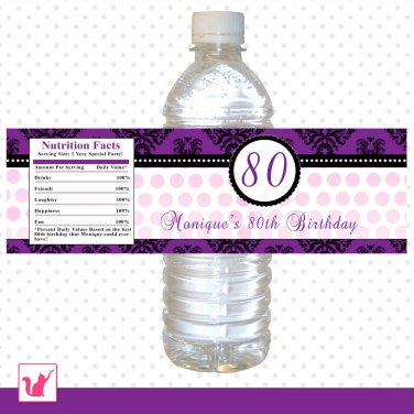 Printable Personalized Dainty Damask Purple Birthday Water Bottle Labels - Custom Occassion Wraps