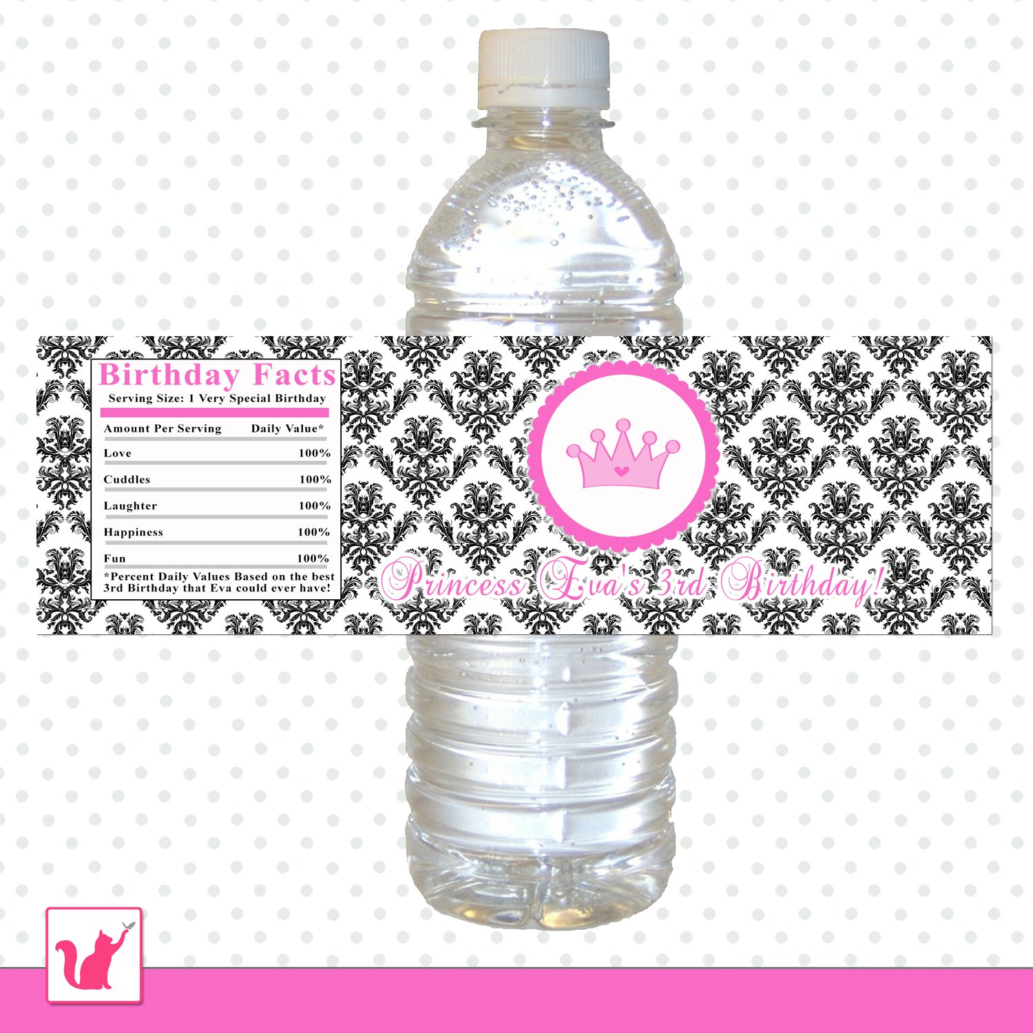 printable personalized pink princess damask water bottle