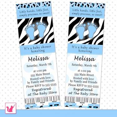 Printable Personalized Blue Black Zebra Leopard Print Baby Shower Invitation Ticket - Boy Custom