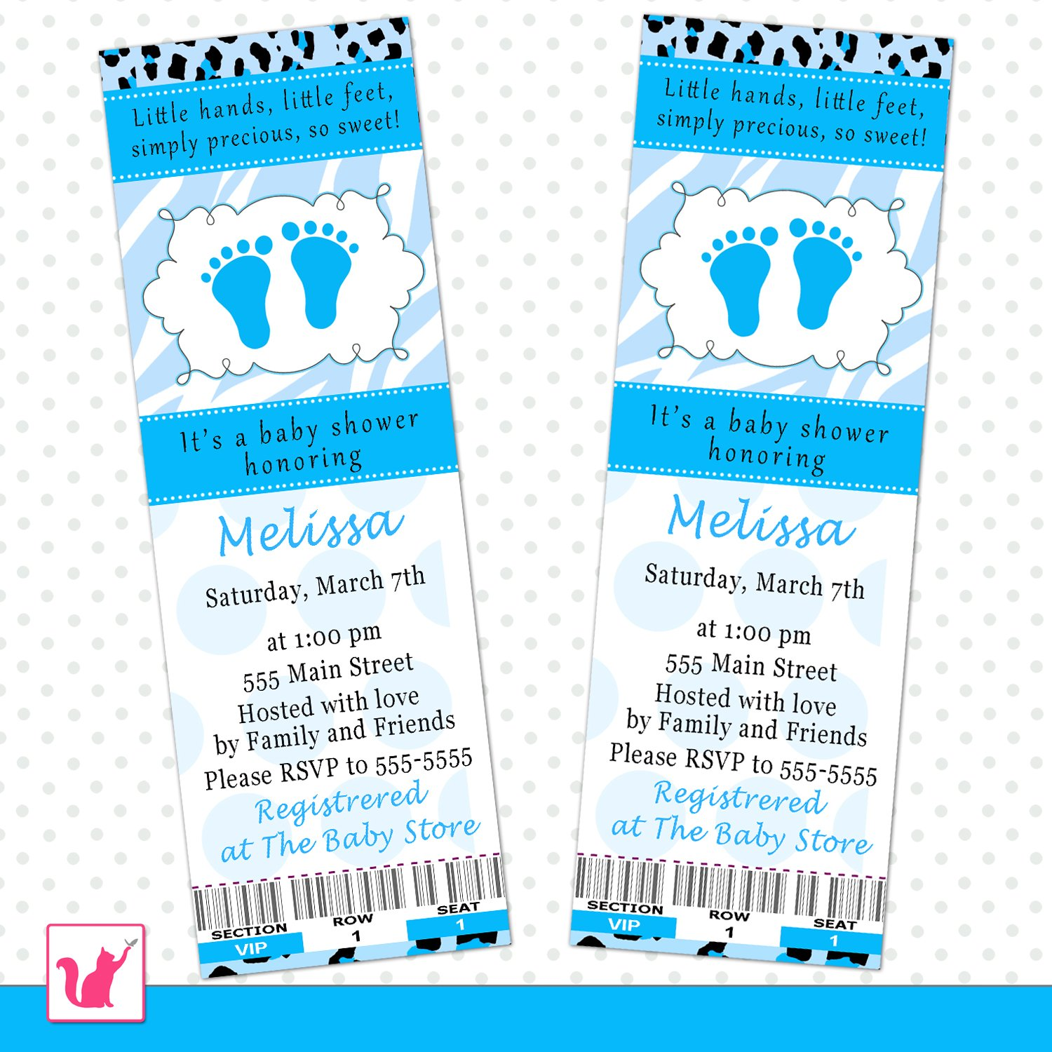 50 invitation tickets baby boy shower zebra cheetah blue feet ...