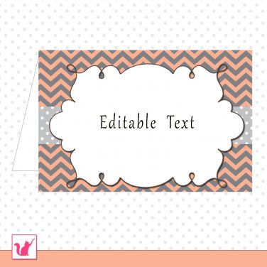 Printable Editable Coral Grey Chevron Food Label Folded Tent Card - Any Occassion