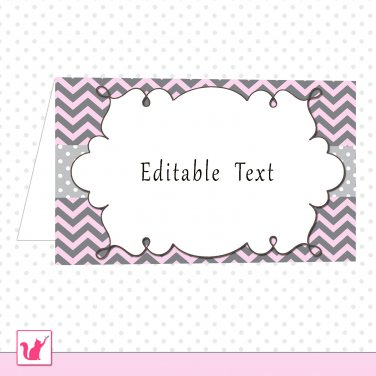 Printable Editable Pink Grey Chevron Food Label Folded Tent Card - Any Occassion