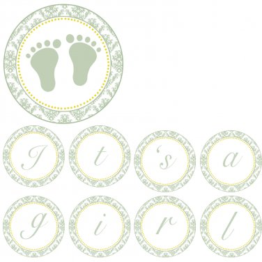 Hand Made Personalized Green Damask Baby Feet Banner - Baby Shower Customizable For Any Occassion