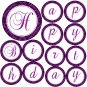Hand Made Personalized Purple Damask Happy Birthday Banner - Customizable For Any Occassion