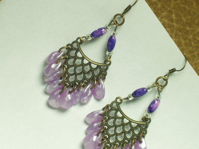 Copper tone with purple & blue dangle gemstone style
