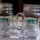 (2) bar jars,glasses w/handles mexico unleaded fuel neat