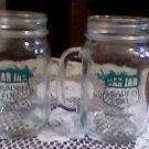 (2) bar jars,glasses w/handles mexico unleaded fuel neat