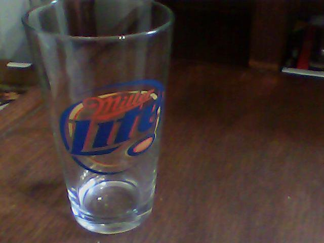 clear glass beer glass miller lite collectable nice neat