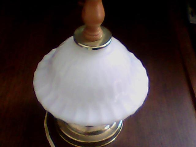 vintage milk glass table lamp no shade gold colored base smaller